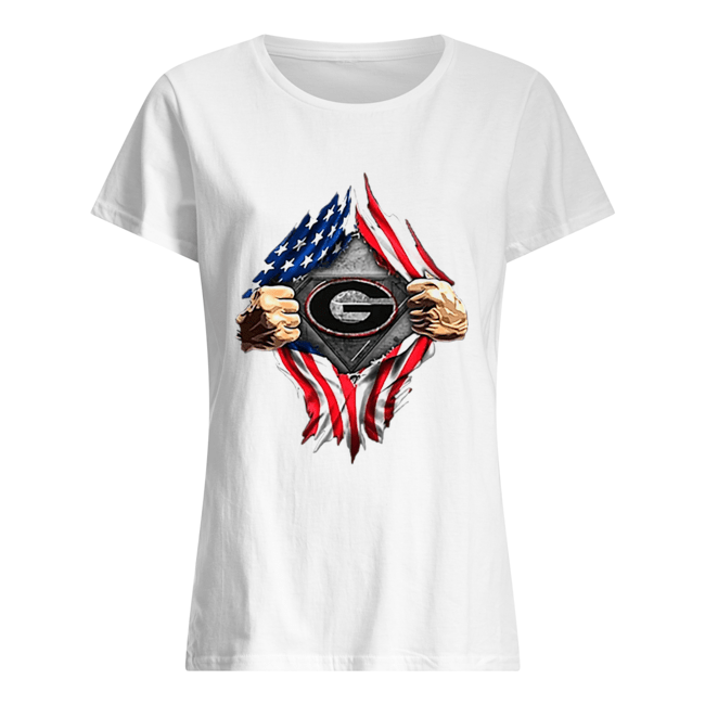 American Flag Blood inside me Georgia Bulldogs  Classic Women's T-shirt