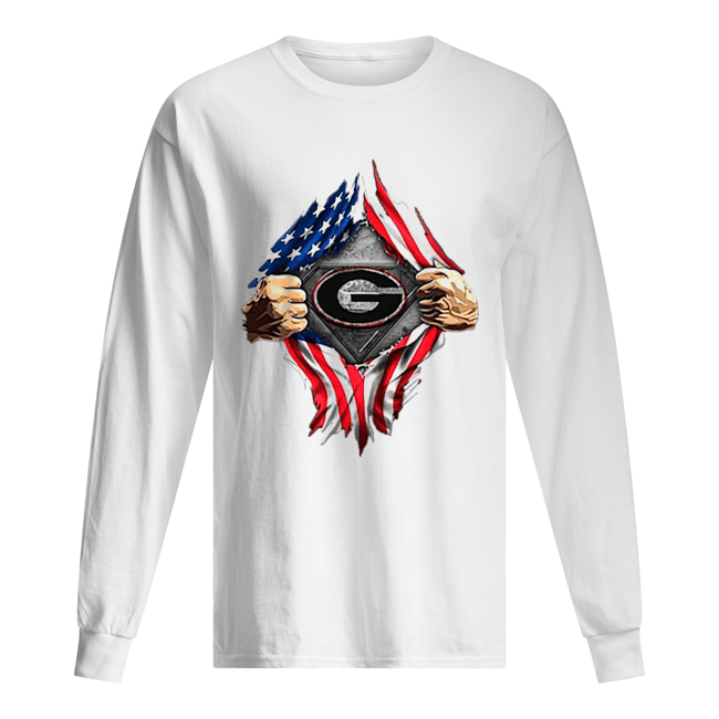 American Flag Blood inside me Georgia Bulldogs  Long Sleeved T-shirt