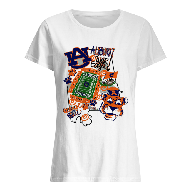 Auburn Tigers War Eagle Orange and blue  Classic Women's T-shirt