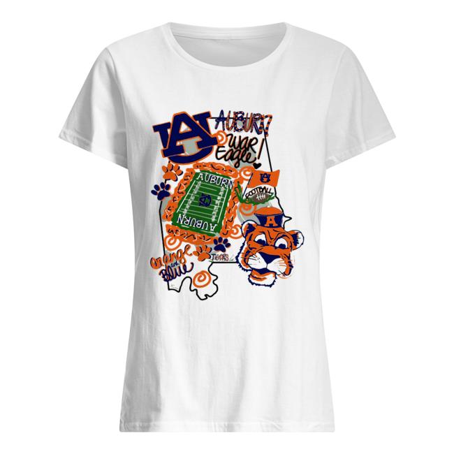 Auburn Tigers War Eagle Orange and blue  Classic Women's T-shirt