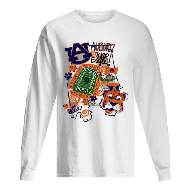 Auburn Tigers War Eagle Orange and blue  Long Sleeved T-shirt