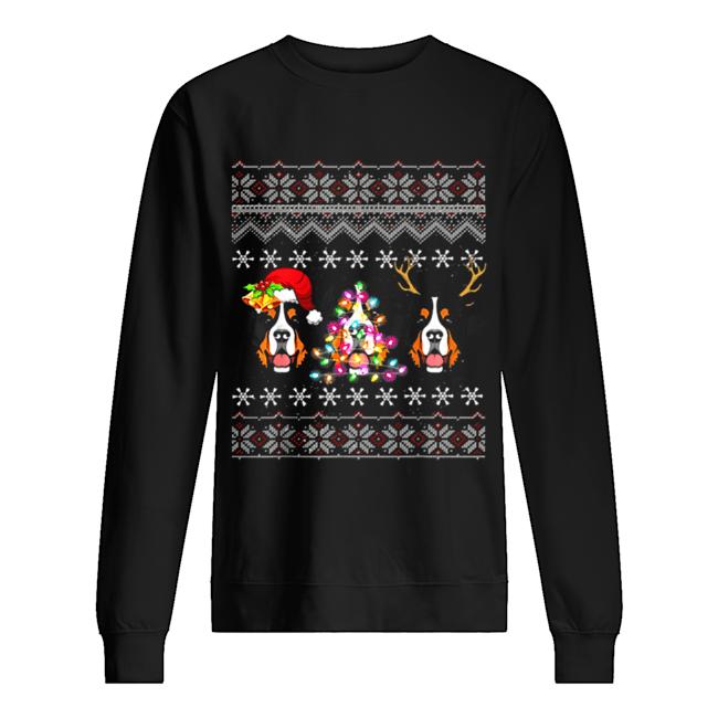 Beautiful Christmas Bernese Mountain Gift Lights Santa Hat Three Dogs  Unisex Sweatshirt