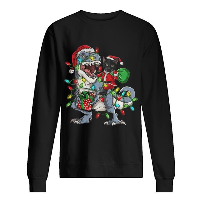 Black Cat Riding T-rex Merry Christmas  Unisex Sweatshirt