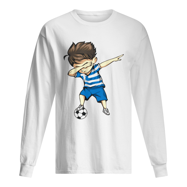 Dabbing Soccer Boy Greece Jersey  Long Sleeved T-shirt