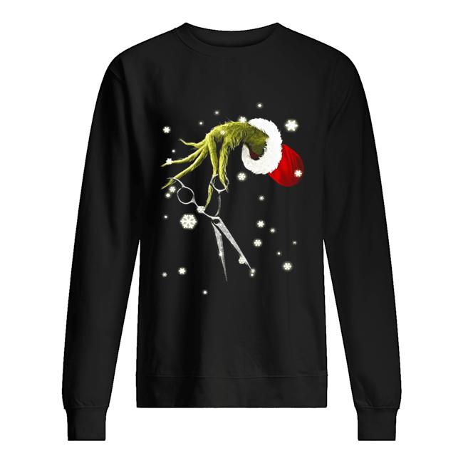 Grinch Hand Holding Scissor Christmas Unisex Sweatshirt