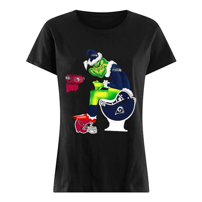 Grinch Seattle Seahawks San Francisco 49ers Los Angeles Rams Arizona Cardinals Toilet  Classic Women's T-shirt