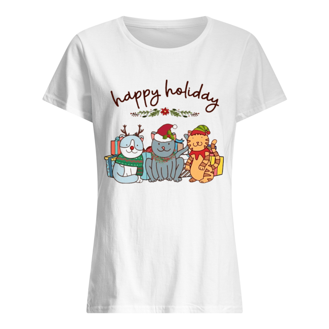 Happy Holliday Cats Christmas  Classic Women's T-shirt