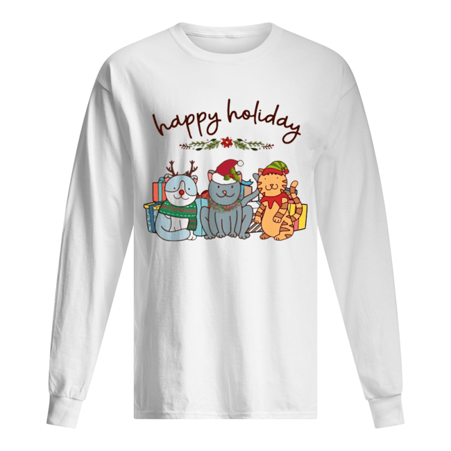 Happy Holliday Cats Christmas  Long Sleeved T-shirt