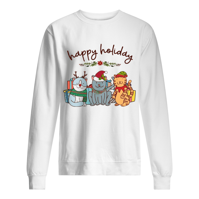 Happy Holliday Cats Christmas  Unisex Sweatshirt