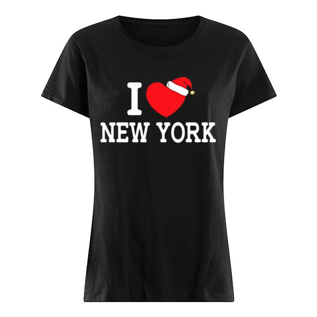 I Heart New York Christmas Santa Hat New York Strong Love  Classic Women's T-shirt