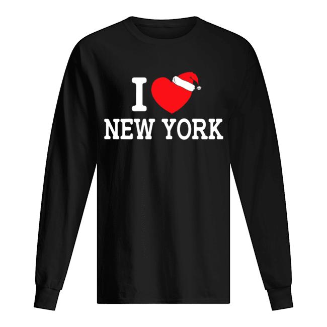 I Heart New York Christmas Santa Hat New York Strong Love  Long Sleeved T-shirt