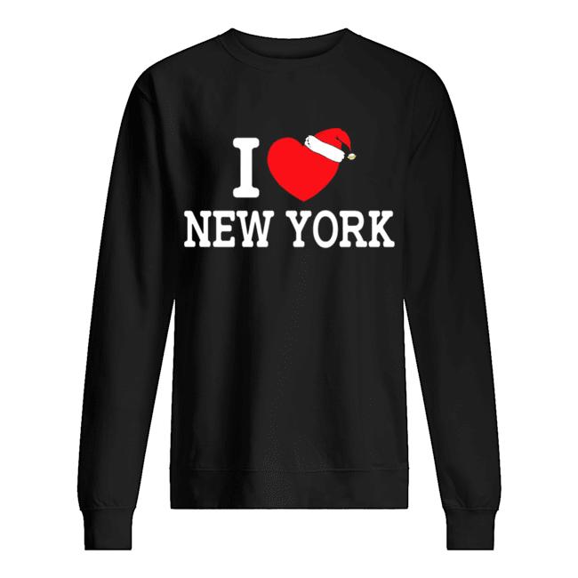 I Heart New York Christmas Santa Hat New York Strong Love  Unisex Sweatshirt