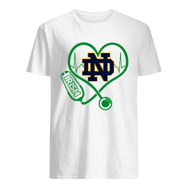 Love Notre Dame Fighting Irish Stethoscope Heartbeat nurse  Classic Men's T-shirt