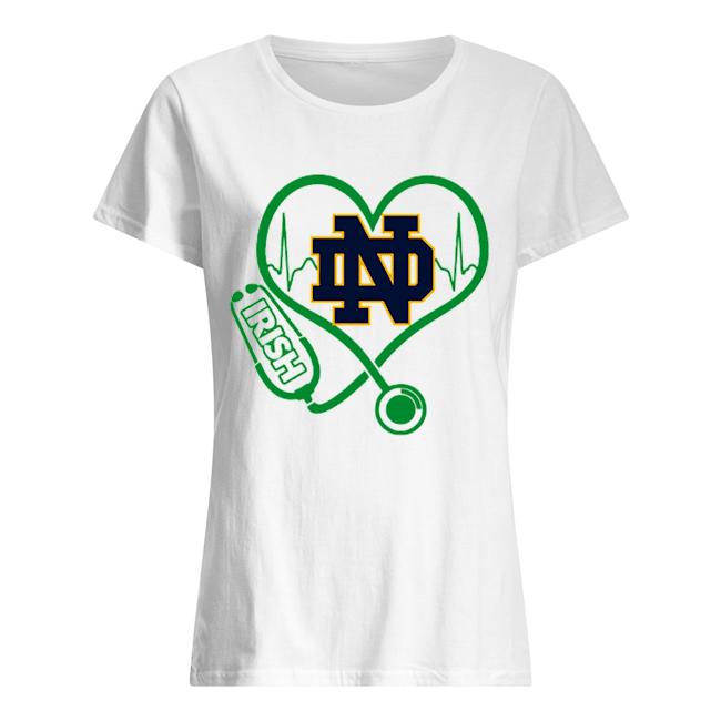 Love Notre Dame Fighting Irish Stethoscope Heartbeat nurse  Classic Women's T-shirt