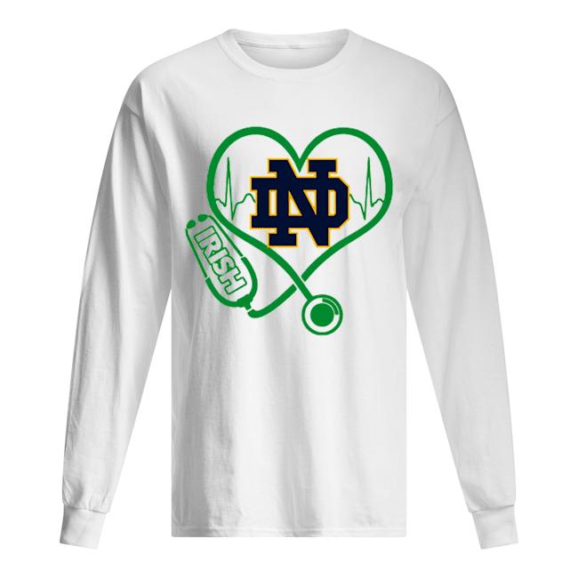Love Notre Dame Fighting Irish Stethoscope Heartbeat nurse  Long Sleeved T-shirt