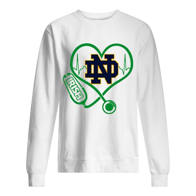Love Notre Dame Fighting Irish Stethoscope Heartbeat nurse  Unisex Sweatshirt