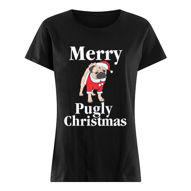 Merry Pugly Christmas Pug Xmas Dog Lover  Classic Women's T-shirt