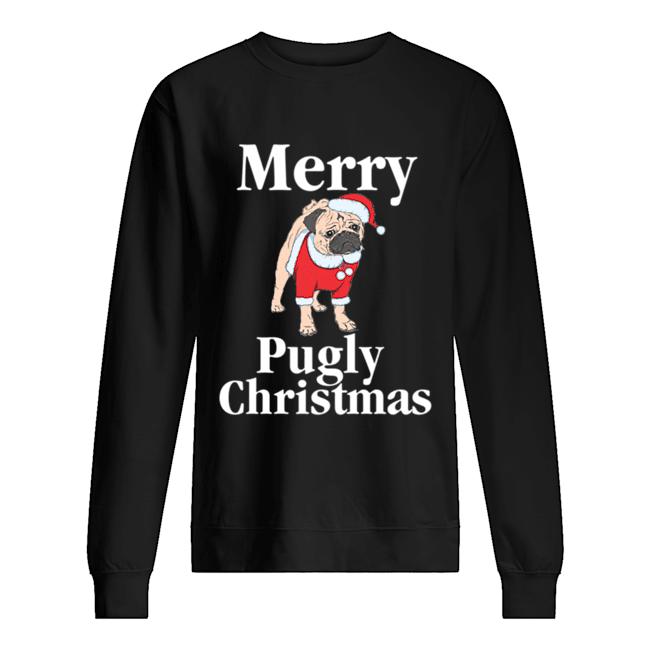 Merry Pugly Christmas Pug Xmas Dog Lover  Unisex Sweatshirt