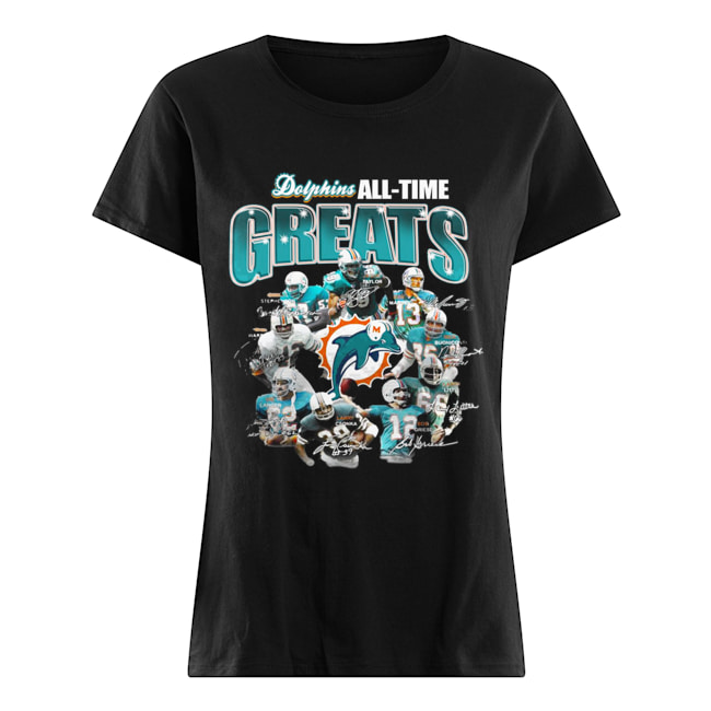 Miami Dolphins All-time Greats Players Signatures  Classic Women's T-shirt