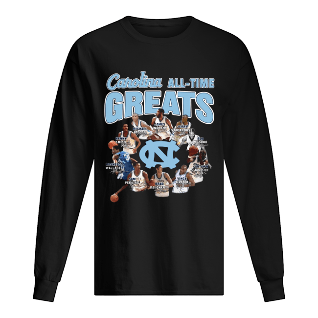 North Carolina Tar Heels baseball All-time Greats Players Signatures  Long Sleeved T-shirt