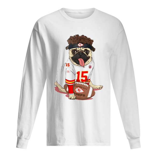 Patrick Mahomes Pug Mahomes Kansas City Chiefs  Long Sleeved T-shirt