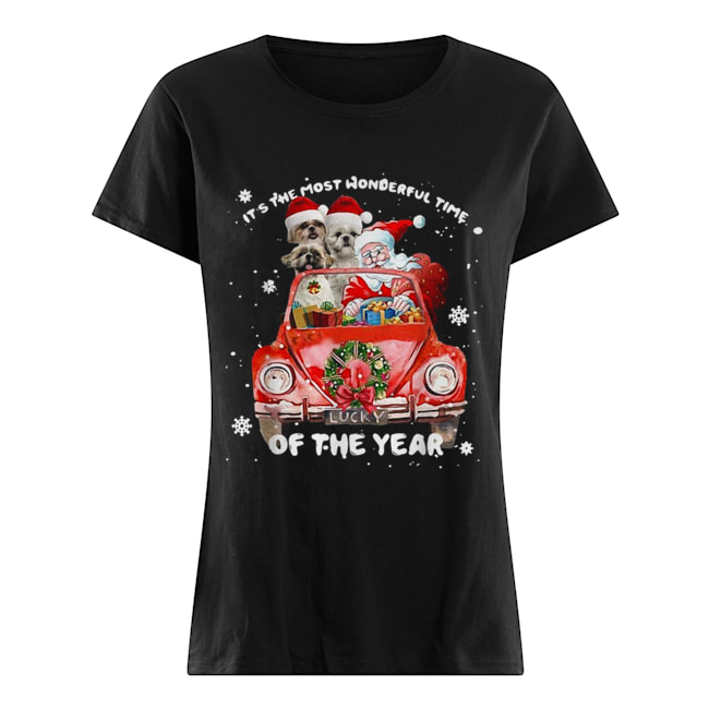 Shih Tzu and Santa it's the most wonderful time of the year Christmas  Classic Women's T-shirt