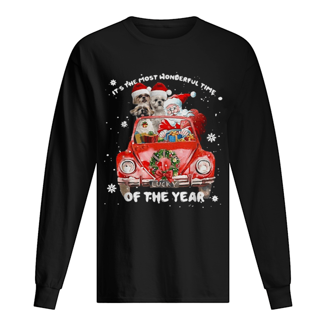 Shih Tzu and Santa it's the most wonderful time of the year Christmas  Long Sleeved T-shirt