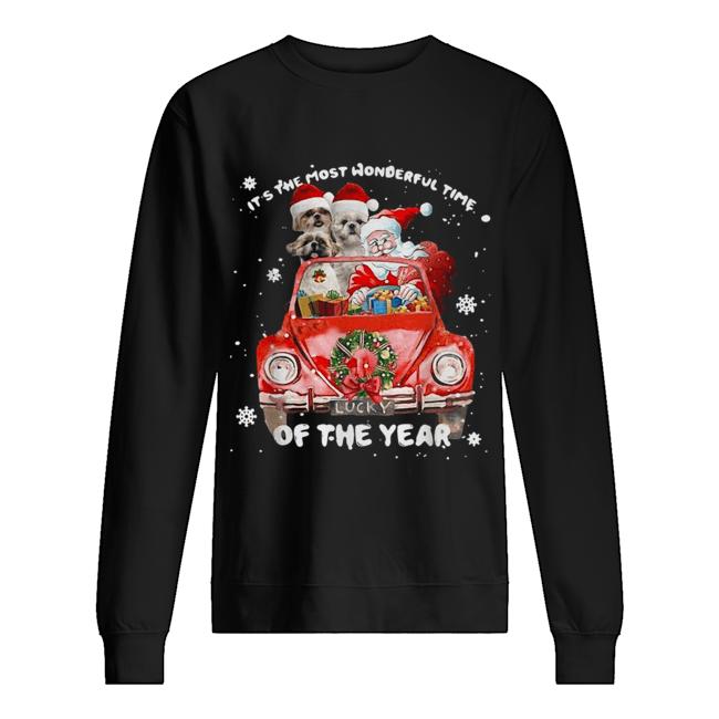 Shih Tzu and Santa it's the most wonderful time of the year Christmas  Unisex Sweatshirt
