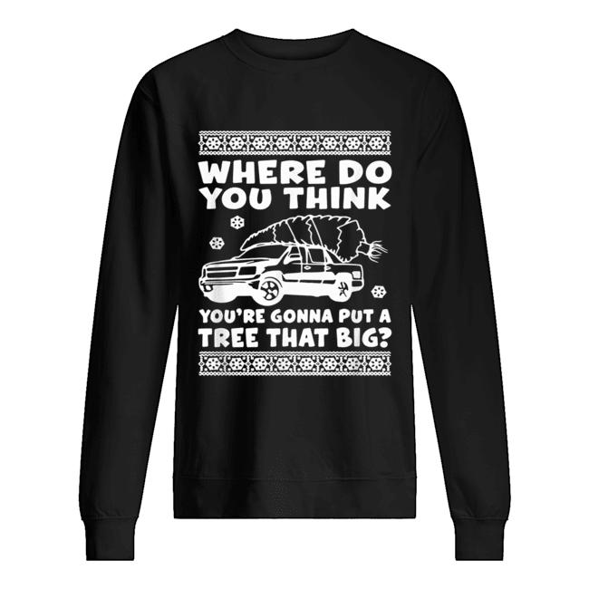 Where do you think you're gonna put a tree that big Christmas  Unisex Sweatshirt