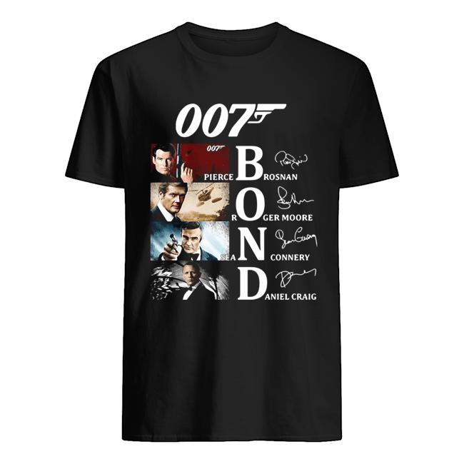 007 Pierce Brosnan Roger Moore Sean Connery Daniel Craig Signatures  Classic Men's T-shirt