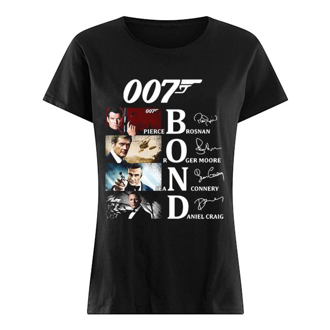 007 Pierce Brosnan Roger Moore Sean Connery Daniel Craig Signatures  Classic Women's T-shirt