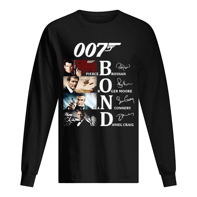 007 Pierce Brosnan Roger Moore Sean Connery Daniel Craig Signatures  Long Sleeved T-shirt