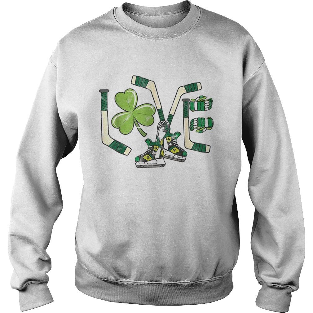 Ice Hockey Love St Patricks Day Cute Gift Goalie Clover Boys  Sweatshirt