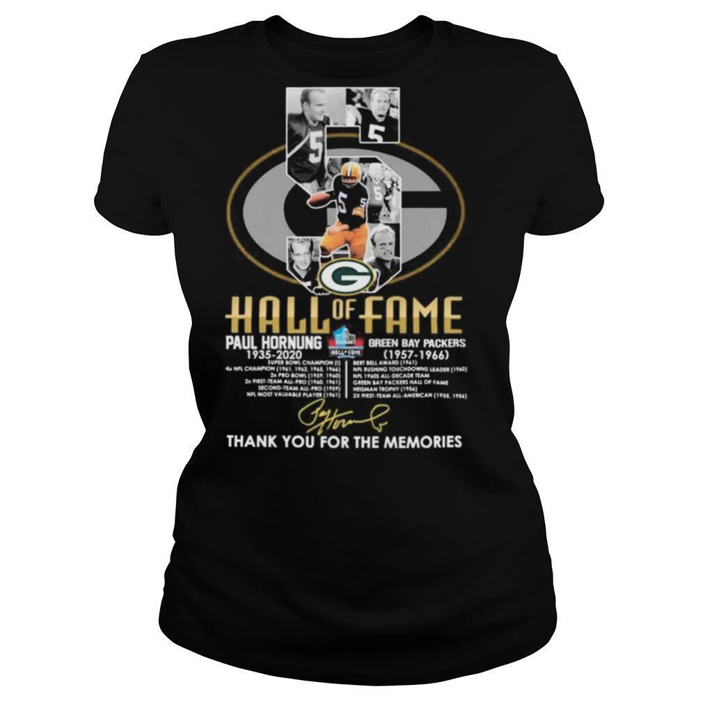 5 Hall of Fame Paul Hornung 1935 2020 Green Bay Packers 1957 1966 thank you for the memories signature shirt