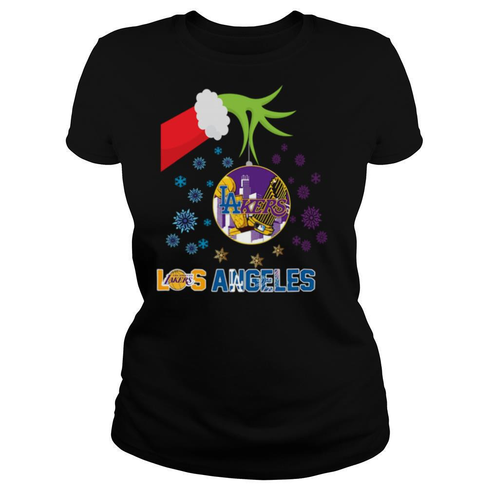 The Grinch Hand Holding Ornament Los Angeles Lakers And Los Angeles Dodgers Christmas shirt