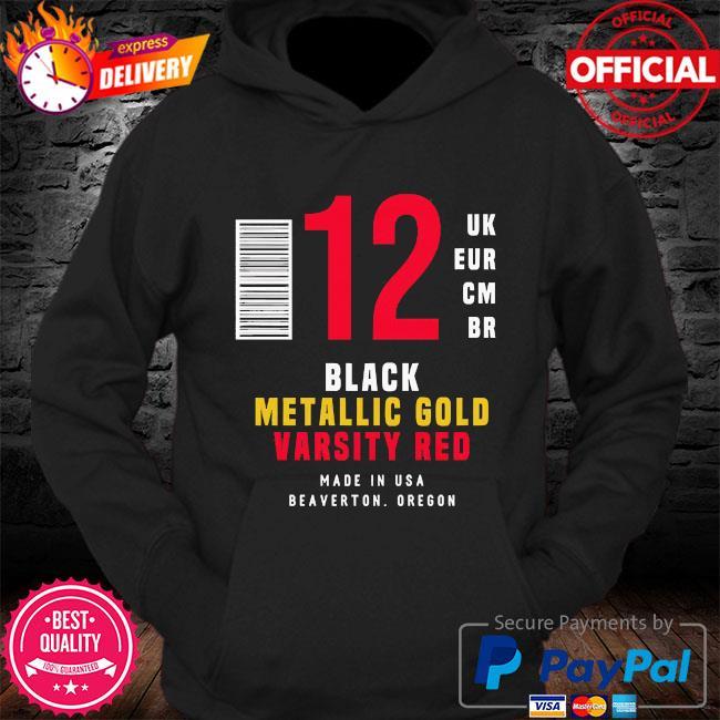 12 uk eur cm br black metallic gold varsity red s Hoodie
