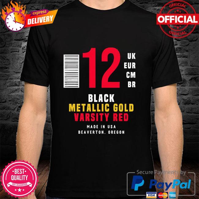 12 uk eur cm br black metallic gold varsity red shirt