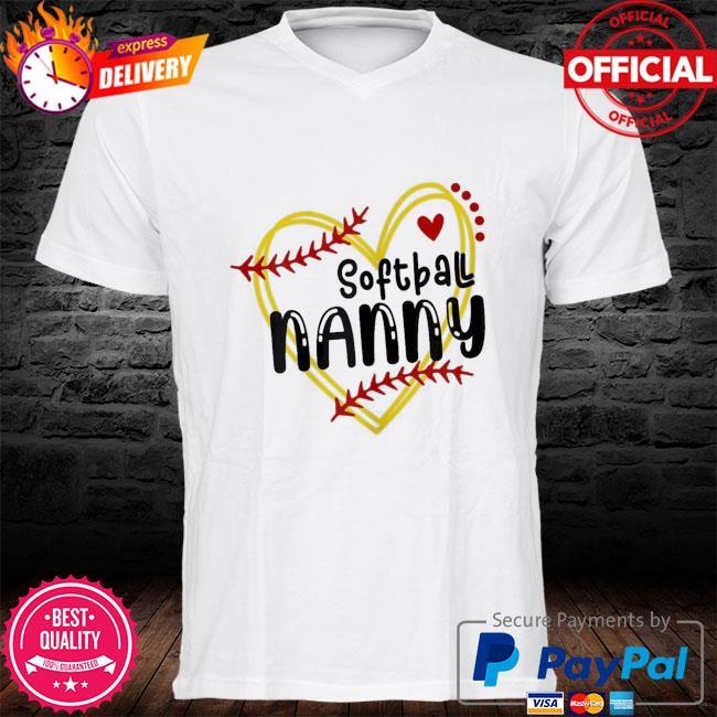 Heart nanny love softball mothers day nanny softball shirt