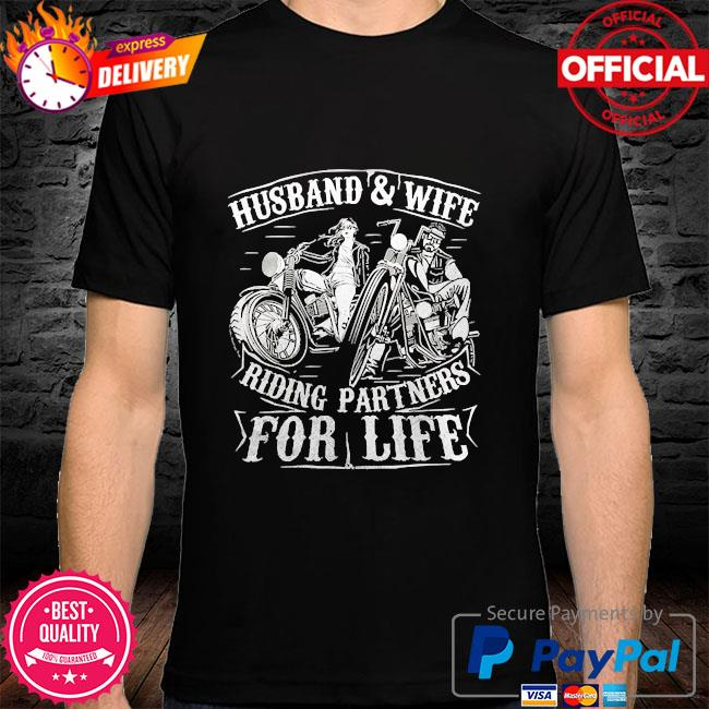 Husband wife riding partners for life matching couple biker shirt