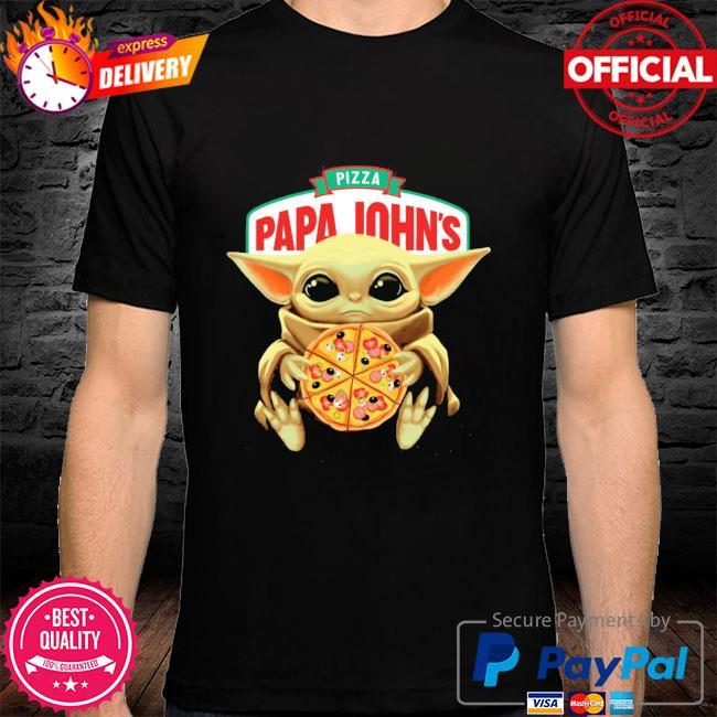 Official star wars baby Yoda hug pizza papa johns shirt